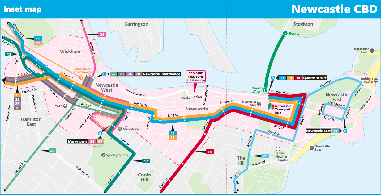 Newcastle CBD Bus Routes