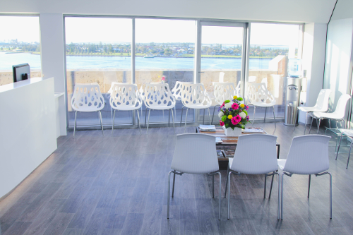Lotus Dermatology waiting room view of Newcastle Harbour